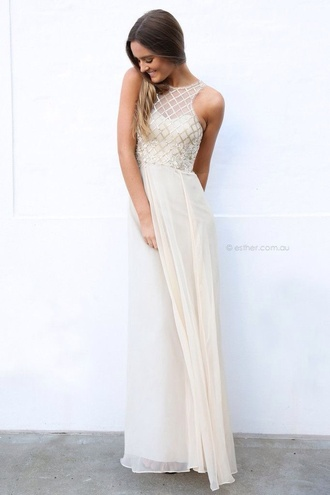 dress white dress prom dress formal dress long prom dress long dress white prom dress white formal dress long formal dress maxi dress gown gold dress champagne dress champagne prom dress gold prom dress hipster wedding prom gown esther prom cream dress gold chiffon love white nude dress fashion fancy tumblr party dress