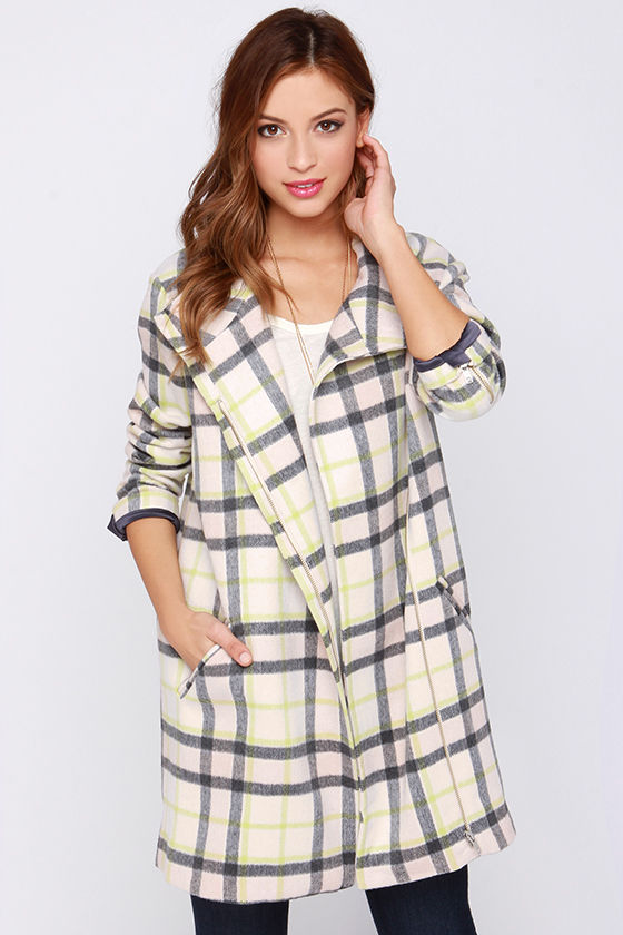 Finders keepers long time cream plaid coat