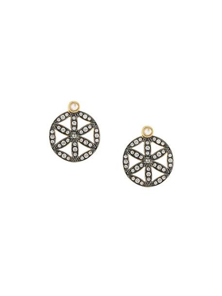 Noor Fares women moon earrings gold yellow grey metallic jewels