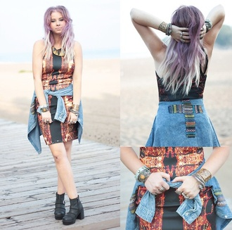 dress fashion going out rock chic cool dope blogger fashionista pink dipdye hairstyles collage edgy demin shirt style trendy love