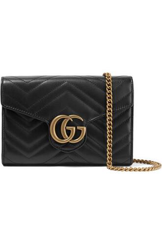 mini quilted bag shoulder bag leather black