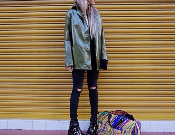 coat green waterproof coat