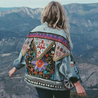 jacket denim jacket multicolor embroidered embellished jacket embroidered jacket coat denim indie boho hippie colorful boho jacket blue jacket printed jacket lightwash jeans