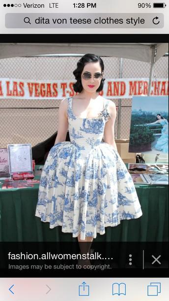 dress dita von teese blue dress white dress midi dress vintage dress retro dress