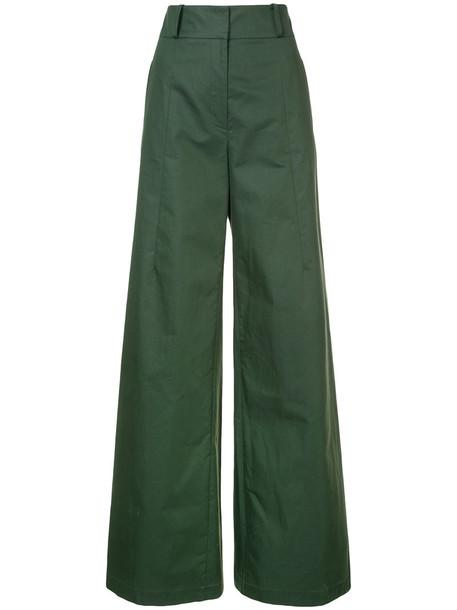 oscar de la renta high women cotton green pants