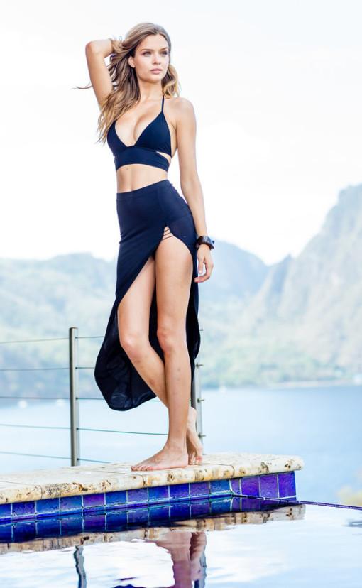 Sauvage Swimwear Mon Cheri Triangle Black Bikini - Resort Runway