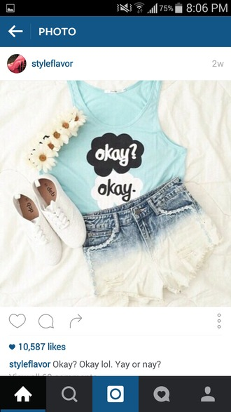 tank top cute movie quote pretty vibrant blue light blue cute outfits blue top