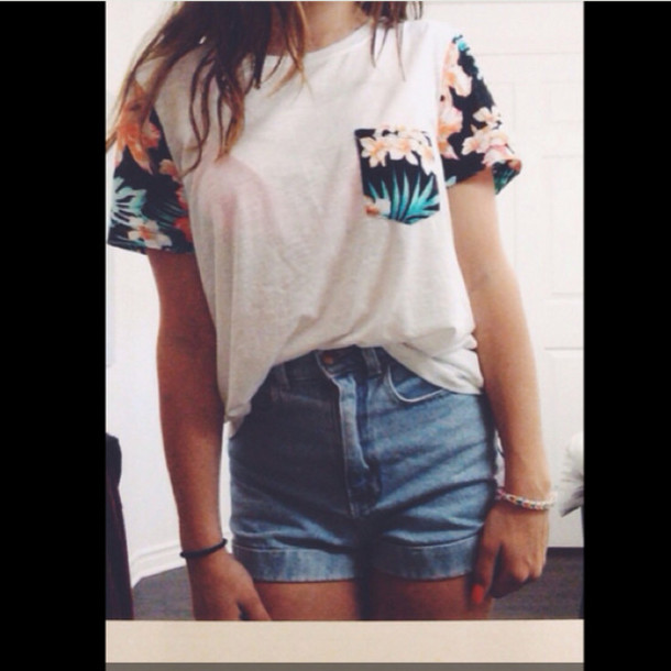 t-shirt t shirt. pattern pocket t-shirt hawaiian white shirt pocket t-shirt shorts t-shirt flowers