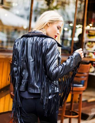 jacket leather jacket fall jacket black jacket fringes fringed jacket black trendy fall trend trending looks