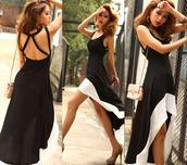 long dress,irregular hem,black and white