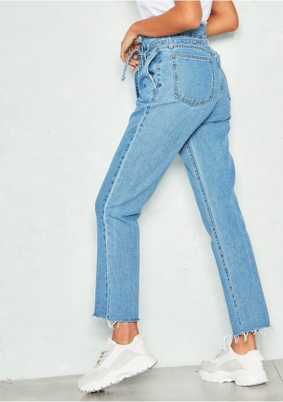 464c8d92b4 Ellie Denim High Waist Paperbag Jeans Missy Empire