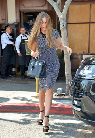 dress asymmetrical asymmetrical dress stripes striped dress sofia vergara sandals platform sandals bodycon dress shoes