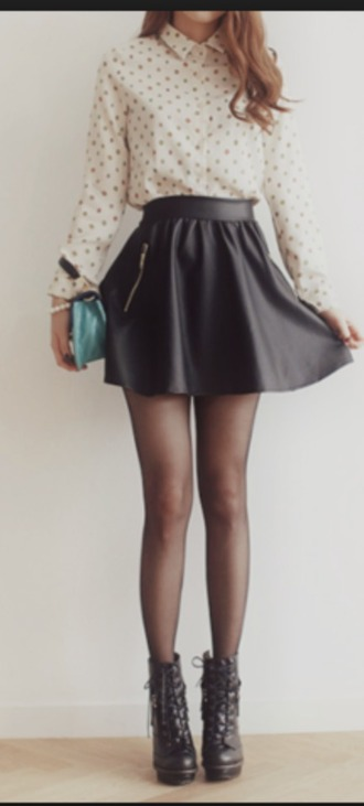 skirt flare skirt adorable ???? skater skirt leather skirt red lime sunday
