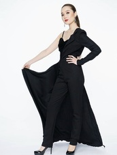 dress,showstopper dress,cocktail dress,knitted dress,black dress,formal dress,evening dress,jumpsuit,elegant dress,asymmetrical,feminine,sexy black cocktail dress,sexy dress,chiffon,women,suit