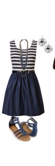 dress necklace navy dress striped dress earrings strap sandals blouse