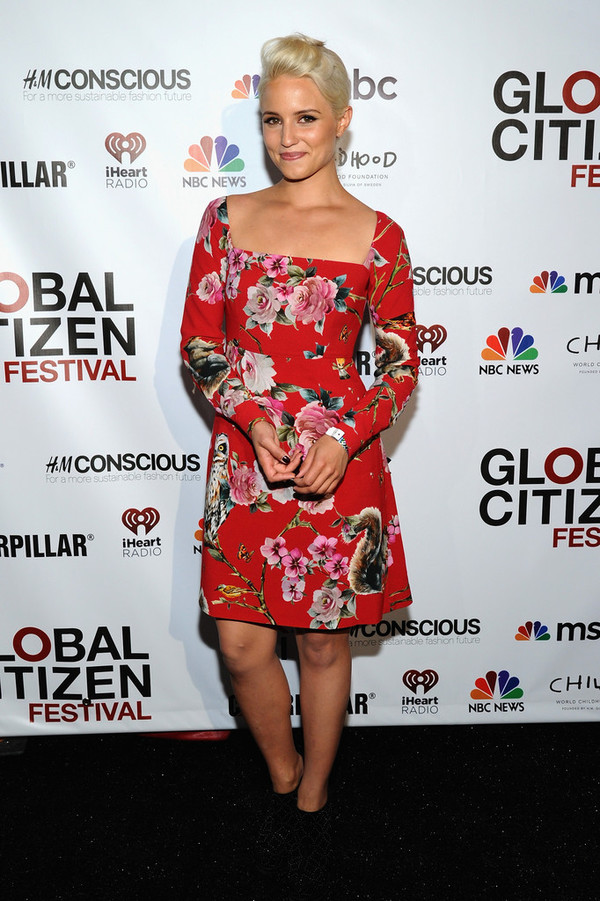 dress dianna agron floral red dress
