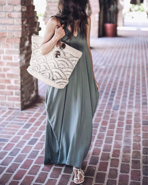 2b5c17f8c8 dress tumblr army green green dress maxi dress long dress bag white bag  sandals flat sandals