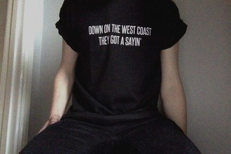 t-shirt west coast lana del rey westcoast shirt quote on it top black
