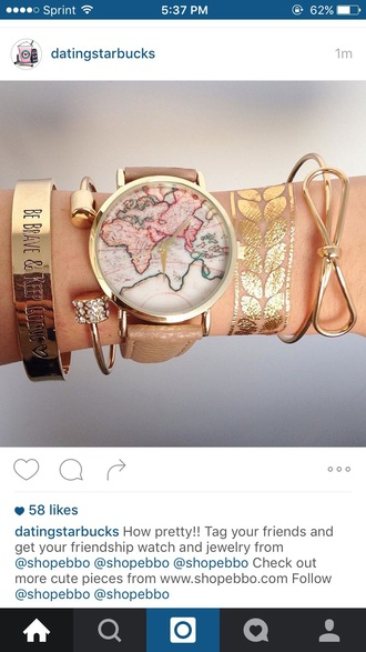 jewels jewelry bracelets stacked bracelets gold tattoos metallic tattoo watch map print map watch gold brown leather