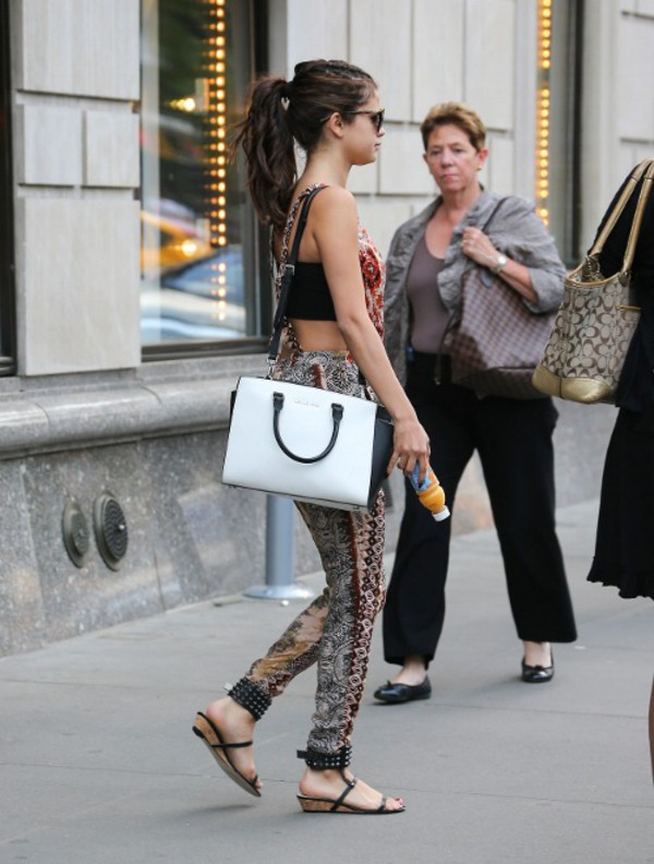 bag black white selena gomez celebrity brown phone cover sandals shoes shorts jeans sunglasses summer romper pants
