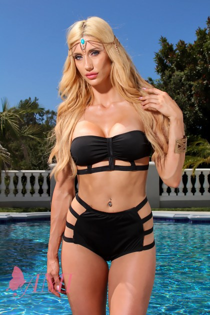 Black Strappy Detail High Waist Bottoms Sexy Swimsuit @ Amiclubwear Two-piece swimsuits Online Store,two-piece swimsuits,tank suit,leotard,simply two-piece,bikini,sheer bikini,thong swimsuit,sling bikini,pretzel suit,two piece swimming suits,2-piece swims