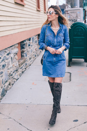 prosecco and plaid,blogger,sunglasses,denim dress,knee high boots,suede boots,spring outfits