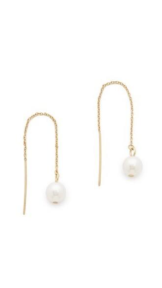 pearl earrings gold jewels
