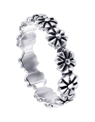 Sterling Silver Jewelry | Polish Finish 4mm Flower Silver Band Ring Size 3 # LWRS159-3