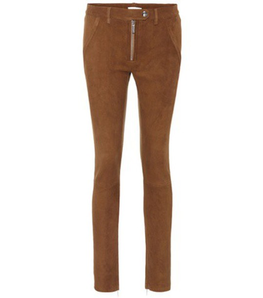 The Row suede brown pants