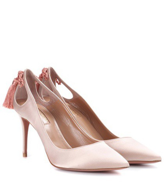 Aquazzura forever pumps satin pink shoes