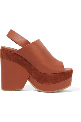 sandals platform sandals leather suede brown shoes