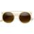 Contemporary Designer Retro Circle Super Half Frame Flat Bar Sunglasses 8525                           | zeroUV
