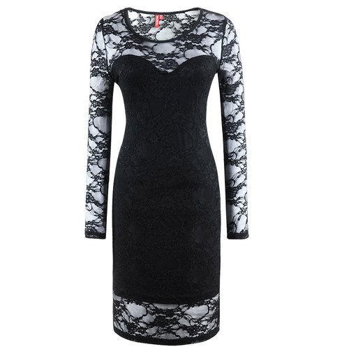 New Women's Sexy Ladie Black Hollow Out Lace Cocktail Party Dresses UK Size 8-16   Amazing Shoes UK