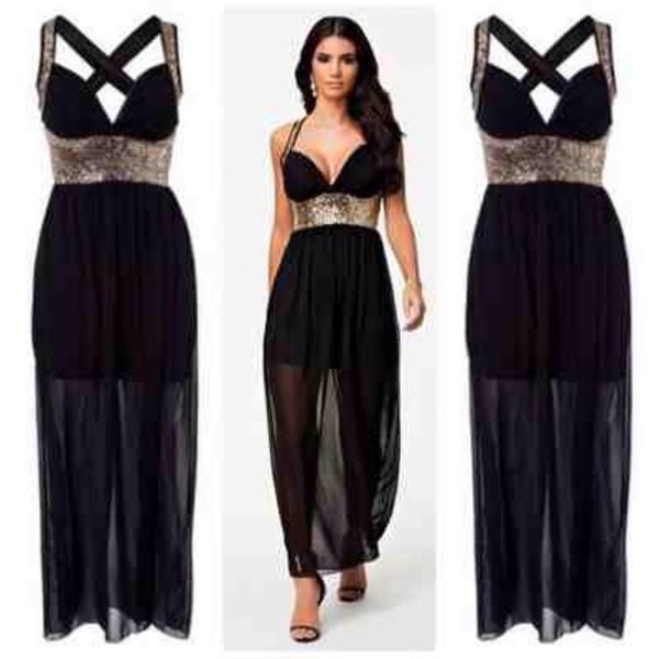 dress black gold mesh