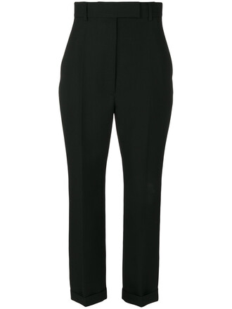 high waisted high women black wool pants