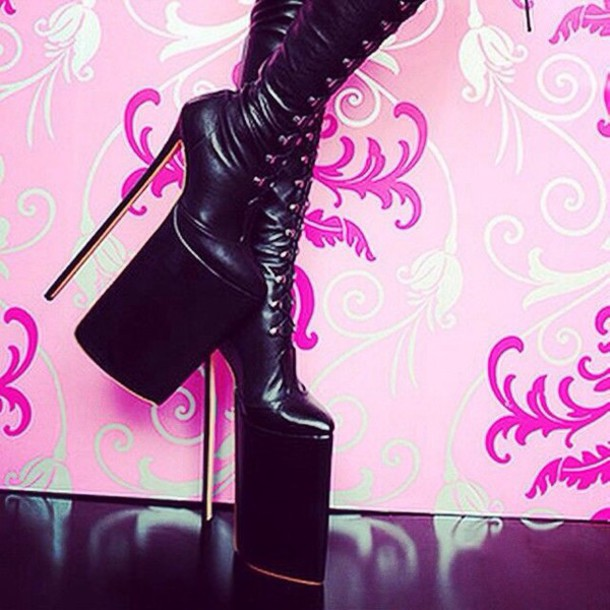 shoes black high heel boots