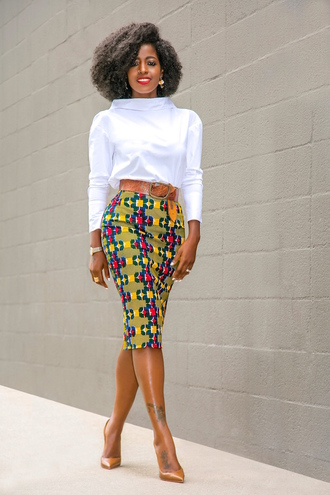 blogger blouse skirt belt shoes