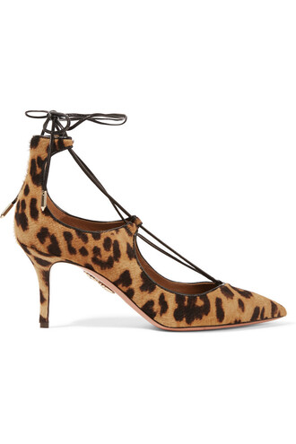 hair pumps lace print leopard print shoes