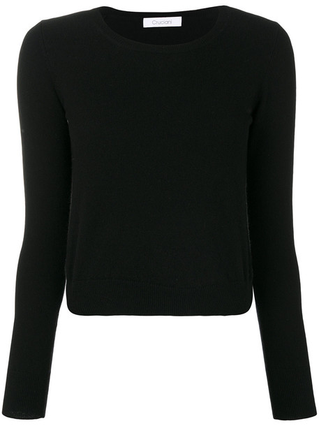 Cruciani pullover cropped women black sweater