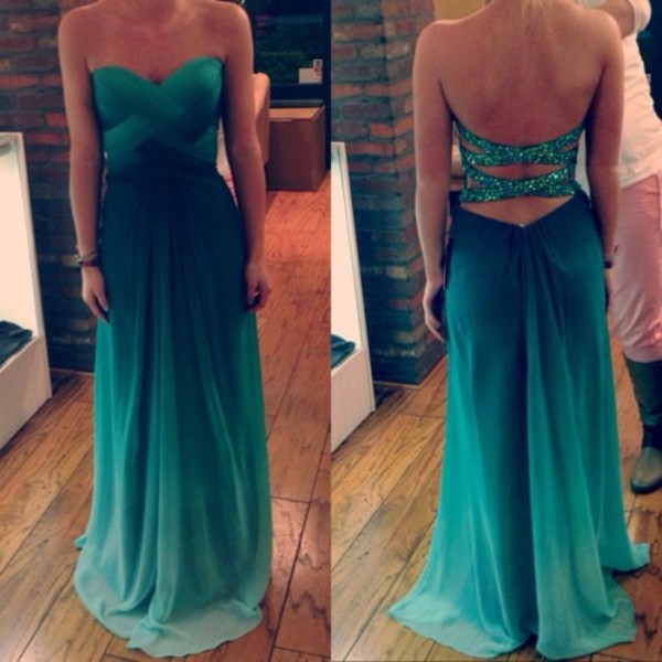 dress turquoise ombre dress sparkle criss cross back prom dress long prom dress green