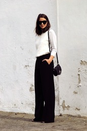 le fashion image,blogger,black pants,wide-leg pants,fuzzy sweater,white sweater,black bag,shoulder bag,minimalist,black wide-leg velvet pants