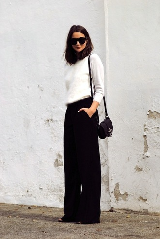 le fashion image blogger black pants wide-leg pants fuzzy sweater white sweater black bag shoulder bag minimalist black wide-leg velvet pants