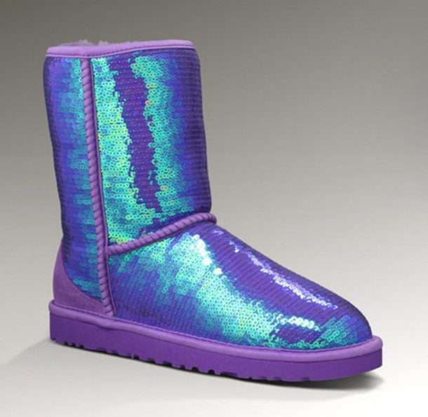 shoes ugg boots purple sequins