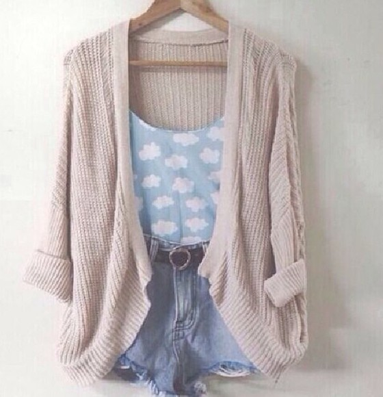 tank top sweater cardigan high waisted denim shorts tanish brown cotton sweater cardigan cotton sweater