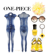 jumpsuit,denim jumpsuit,jeans,denim playsuit,yellow heels,flowers,one piece,instant outfit