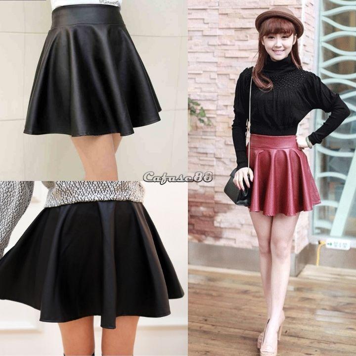 5cd134311e Fashion Women Mini Skirt Faux Leather High Waist Skater Flared ...