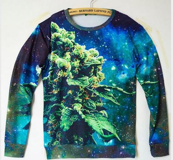 galaxy print marijuana huff sweater high huf custom nike elites