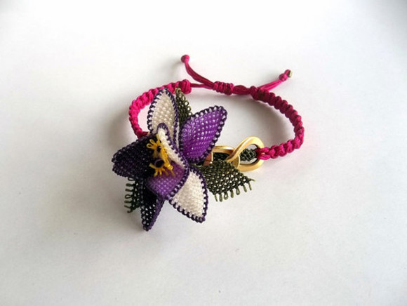 gift birthday gift jewels needle lace needle work macrame bracelet fushia flower handmade for women for girls