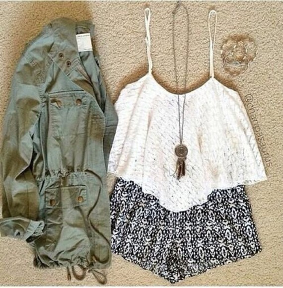 military jacket white top utility green jacket shorts flowy shorts cardigan