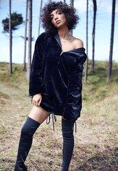 dress,fur,hooded,sweater,black,black dress,black fur dress